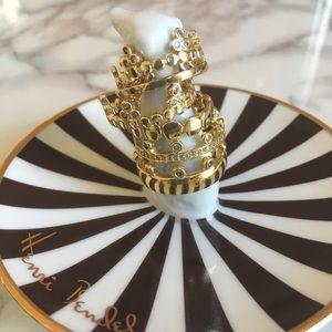 Henri Bendel Six Crown Rings Set